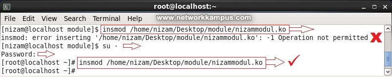 linux centos red hat rhel insmod komutu ile kernele modul yuklemek