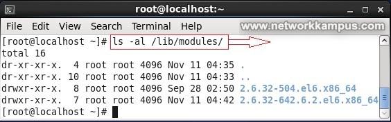 linux centos red hat rhel kernel modullerinin yeri