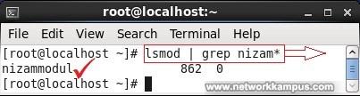 linux centos red hat rhel lsmod komutu ile yuklu modullere bakmak