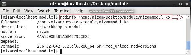 linux centos red hat rhel modinfo komutu ile modul bilgisi goruntuleme