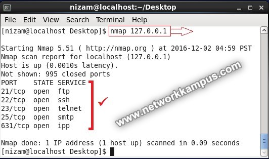 inux centos red hat rhel nmap port tarama