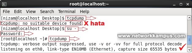inux centos red hat rhel tcpdump: no suitable device found hatasi cozuldu
