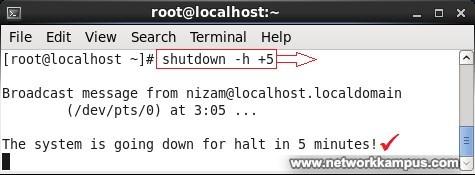 inux centos red hat rhel terminal ekrandan zamanlayıcı ile kapatmak ornek
