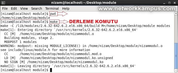 linux centos red hat rhel make komutu ile kernele modul derleme