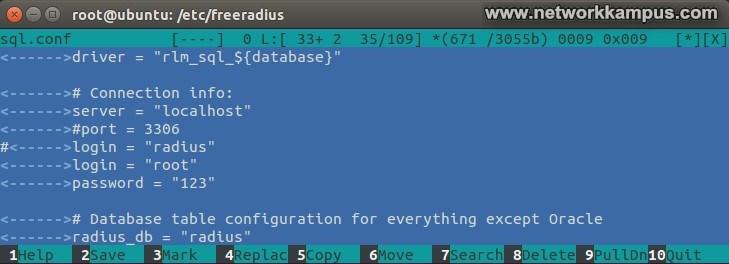 ubuntu daloradius ayarlari sql.conf dosyasi