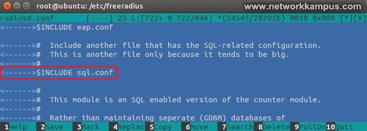 ubuntu daloradius ayarlari radiusd.conf dosyasi