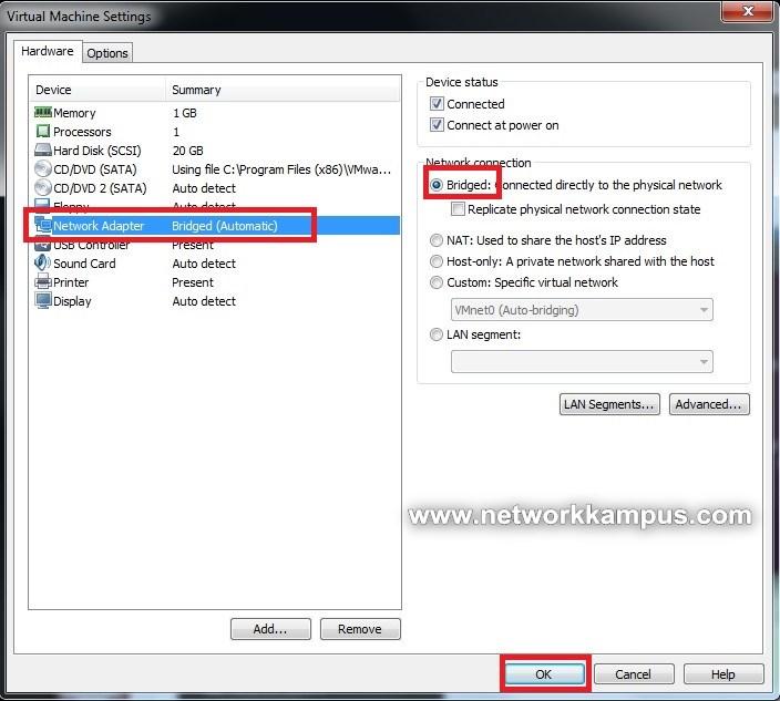 VMWare network kart ayarlari
