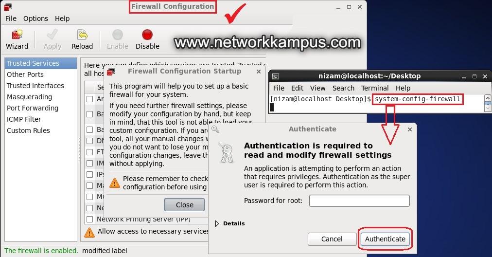 linux centos kırmızı şapka rhel grafiksel ekran GUI ip tabloları